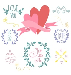 Wedding graphic set wreath flowers arrows vector