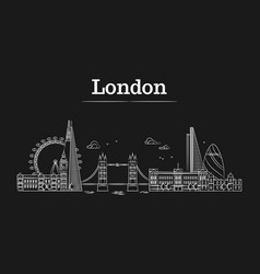 white linear london city skyline with famous vector image