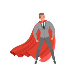 young confident business man with red superhero vector image
