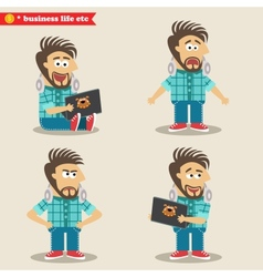 Young IT geek emotions in poses standing set vector