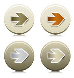 circle buttons with peeling arrow stickers vector image