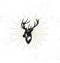 hand drawn deer s head label vintage black vector image