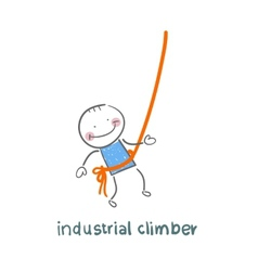 industrial climber hanging on a rope vector image