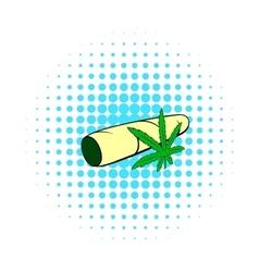 Marijuana joint icon comics style vector