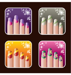 Set of icons of women manicure vector
