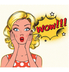 surprised woman face with open mouth vector image vector image