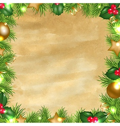 Vintage Paper Background With Christmas Border vector image vector image