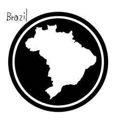white map of brazil on black circle vector image