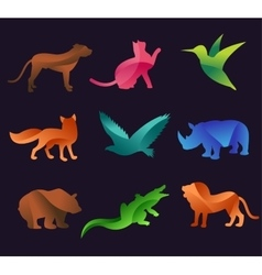 Animal zoo icons set vector image