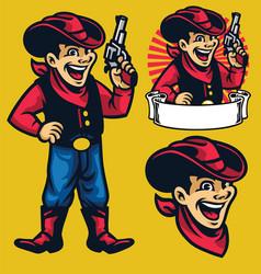 cheerful young cowboy mascot vector image