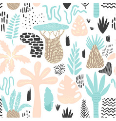 jungle tropical seamless pattern in childish style vector image
