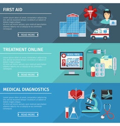 Medical And Healthcare Flat Banners Set vector image