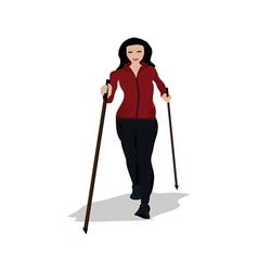 young woman practising nordic walking vector image