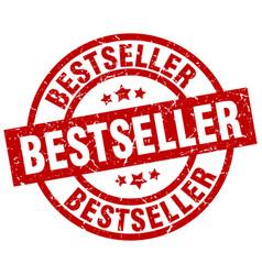 bestseller round red grunge stamp vector image