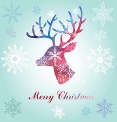 Christmas reindeer silhouette portrait vector image