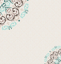 damask ornamental corner frame with a place for vector image vector image