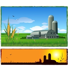 farm harvest background vector image vector image