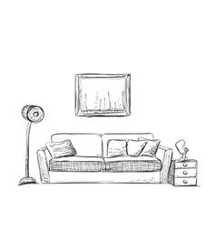 Room interior sketch Hand drawn sofa vector image vector image