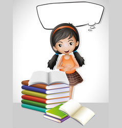 speech bubble template with girl and books vector image vector image