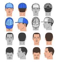 baseball tennis rap cap and man head set vector image
