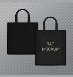 black realistic shoping bag template isolated on vector image vector image