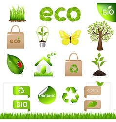Collection Eco Design Elements And Icons vector image vector image