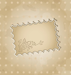 Grunge background with vintage floral label vector image