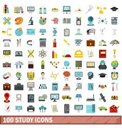 100 study icons set flat style vector image