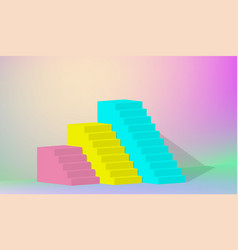 3d rendering yellow blue pink stairs steps vector