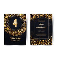4th years birthday black paper luxury vector