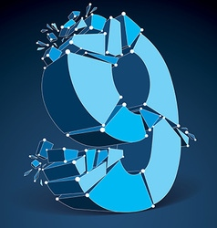 Abstract 3d faceted blue number 9 with connected vector