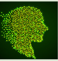 abstract silhouette human head with glowing vector image