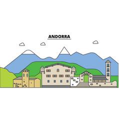 Andorra city skyline architecture buildings vector