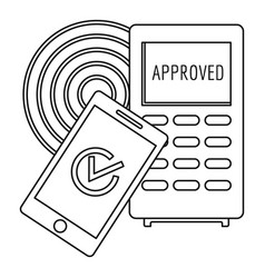 approved terminal payment icon outline style vector image