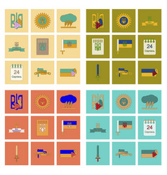 assembly flat icons ukraine39s independence day vector image
