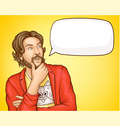 bearded man in fashioned clothes and speech bubble vector image