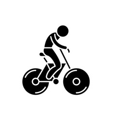 biking black icon sign on isolated vector image