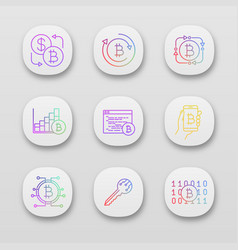 Bitcoin cryptocurrency app icons set vector