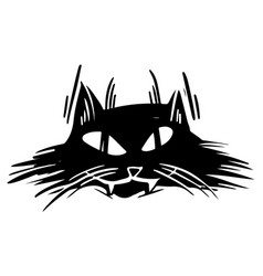 Black cat angry face hand drawn vector