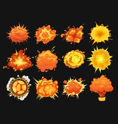 Bomb explosion isolated icons cartoon set vector