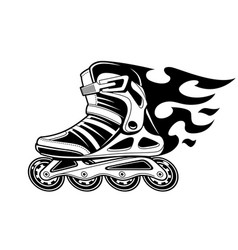 Burning roller skate in motion vector