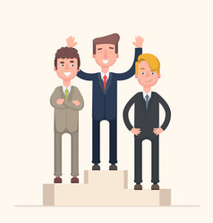 Business competition winner - people standing on vector