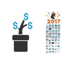 Business Project Plant Icon With 2017 Year Bonus vector