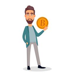 businessman cartoon character holding bitcoin vector image