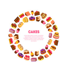 cakes banner template delicious desserts in vector image