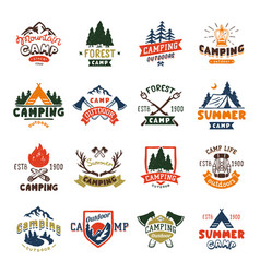 Camping logo badges and travel template hand drawn vector