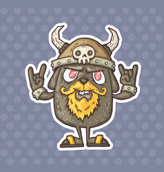 Cartoon creature with a helmet with horns vector