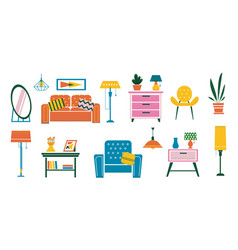 Cartoon interior furniture doodle plants vector