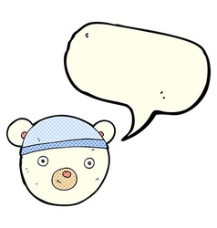 Cartoon polar bear face with speech bubble vector