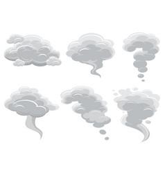 Cartoon smoking clouds and comic cumulus cloud vector